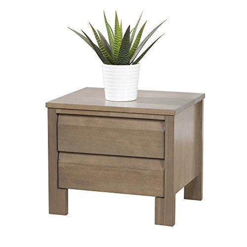 Modern Transitional Charcoal Gray 2 Drawer Nightstand