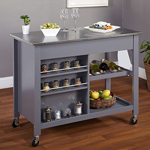 Modern Mobile Kitchen Island Rolling Gray Wood Cart Stainless Steel Top With 2 Storage Drawers And Cabinet Bottom Open Shelf 4 Wine Bottles Shelf