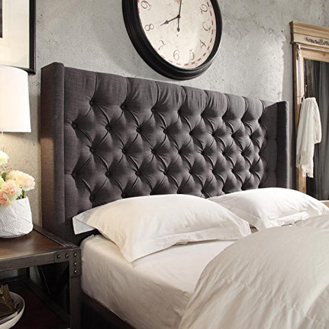 Modern Linen Upholstered Button Tufted Wingback King Headboard  (Dark Grey Linen)