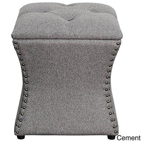 Modern Accent Tufted Top Gray Ottoman with Silver Nailheads