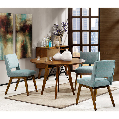 ... Mid Century Modern Set Of 2 Dusty Aqua Blue Upholstered Side Dining  Chairs With Wood In ...