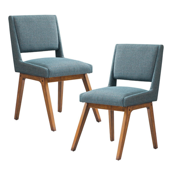 Mid Century Modern Set of 2 Dusty Aqua Blue Upholstered Side Dining Chairs with Wood in Pecan Finish