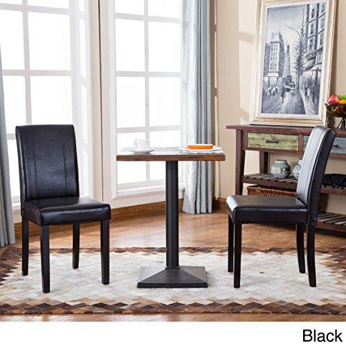 Dark Wood Finish Modern Dining Room W Optional Items: Modern Upholstered Black Faux Leather Parson Dining Chair