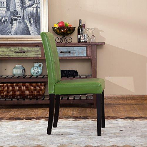 Set of 2 Modern Upholstered Green Faux Leather Parson Dining Chair with Solid Wood Legs in Espresso Finish