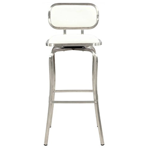 Remarkable Modern Contemporary 30 Inch Stainless Steel White Upholstered Swivel Bar Stool Andrewgaddart Wooden Chair Designs For Living Room Andrewgaddartcom