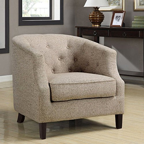 Mid Century Retro Modern Style Beige Button Tufted Upholstered Tub Accent Armchair with Wood Legs