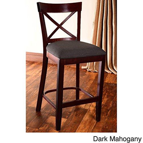 Modern Solid Wood X Back Microfiber Upholstered Seat Dining Bar Stool (Dark Mahogany)
