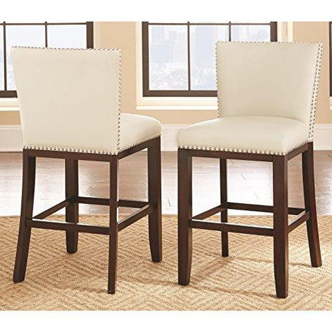 Modern Faux White Leather Upholstered Seat Counter Height Stool with Nailhead and Solid Wood Frame (Set of 2)