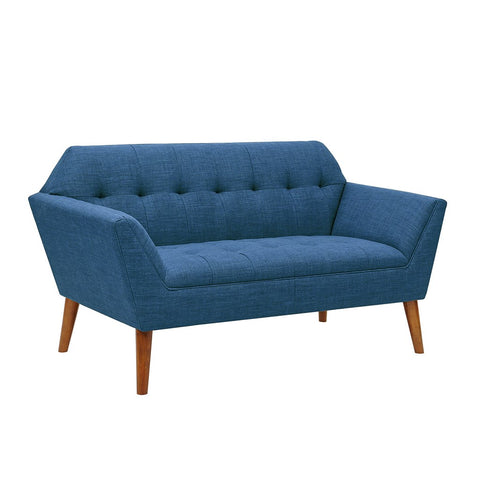 Sensational Mid Century Modern Blue Upholstery Button Tufted Loveseat Squirreltailoven Fun Painted Chair Ideas Images Squirreltailovenorg