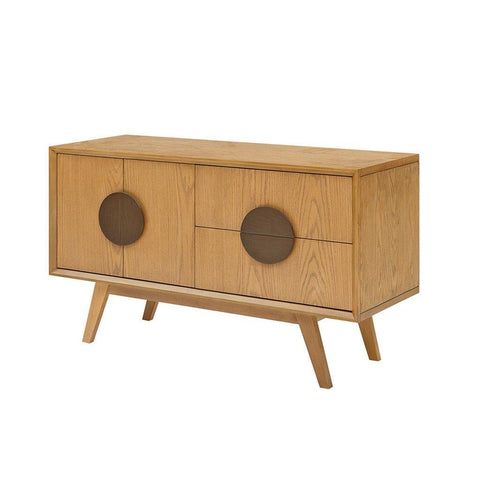 Mid Century Modern Wood Buffet Dresser Console Storage Cabinet in Natural Oak Finish