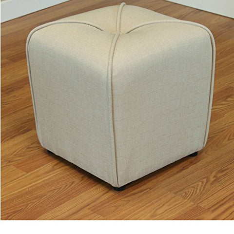Modern Linen Upholstered Footstool Ottoman with Thick Foam  (Ivory)