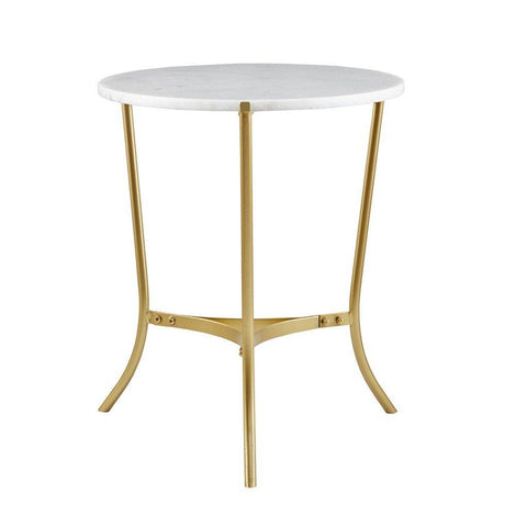Sleek 20 inch Round White Marble Top Gold Metal Accent Side End Table