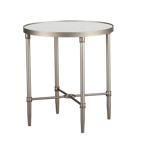 Modern 22 inch Round Silver Metal Accent End Side Table with Mirror Top