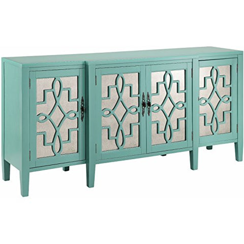 Contemporary Mirror Inserts Storage Accent Chest Rectangle Shaped with Open Shelf | Wood Frame Aqua Finish Home Decor