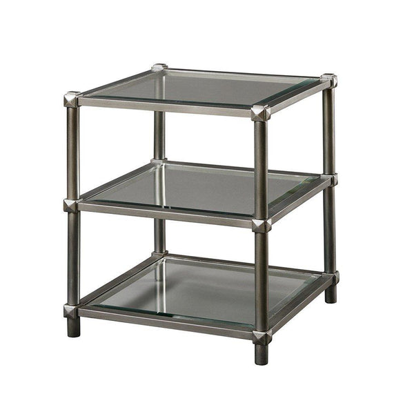 Modern Square  3 Tier Silver Accent End Side Table with Bevel Glass -22 x 22 inch