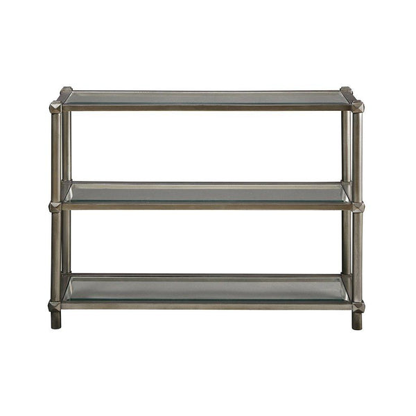 Modern Silver 3 Tier Accent Console Entryway Sofa Table with Bevel Glass -  40 x 14 in.