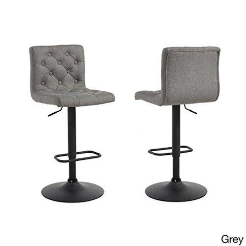 Modern Button Tufted Gray Linen Upholstered Adjustable Height Swivel Bar Stool with Round Black Metal Base Set of 2