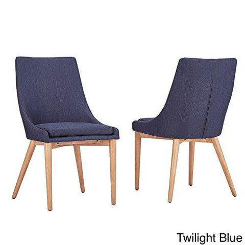 Mid Century Modern Linen Upholstered Barrel Back Side Chair with Oak Wood Sloped Legs Set of 2 (Navy Blue)