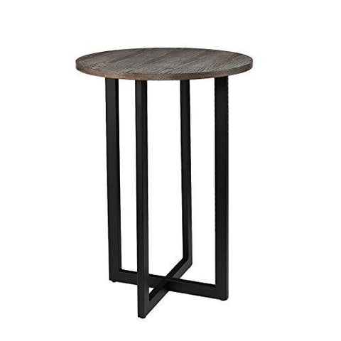 Modern Wood Round Bistro Table with Dark Brown Top and Black Base