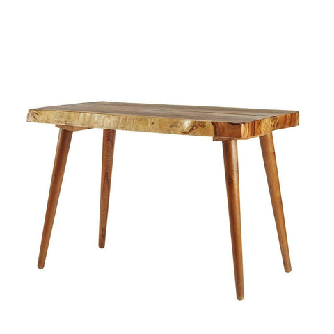 Rustic Wood Trunk Slabs Dining Table with Contrasting Butterfly Joinery and Dowel Legs in Natural Finish