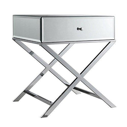 Contemporary Glass Mirror Accent Nightstand End Table With 1 Drawer And X  Metal Legs (Chrome