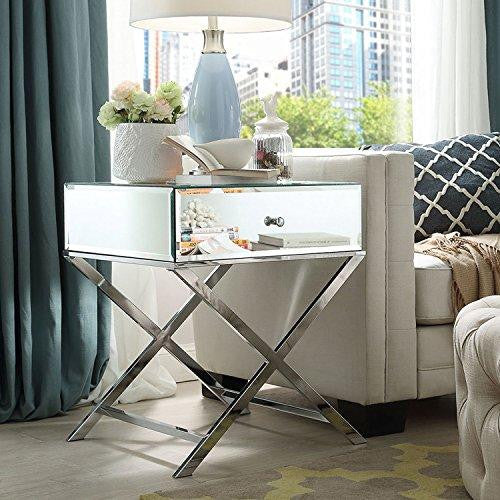 Contemporary Glass Mirror Accent Nightstand End Table with 1 Drawer and X Metal Legs (Chrome)