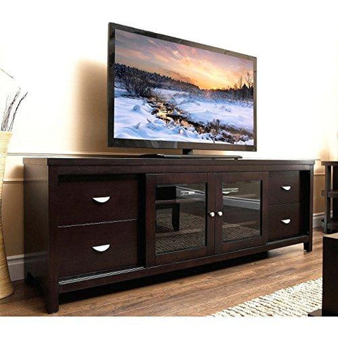 Contemporary Espresso Wenge Wood 72 Inch Entertainment Console TV Stand with Glass Doors, Shelves and 4 Drawers