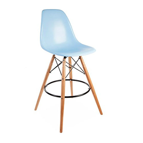 Mid Century Modern Eames DSW Style Blue Counter Stool with Dowel Wood Base PREMIUM QUALITY Satin Finish