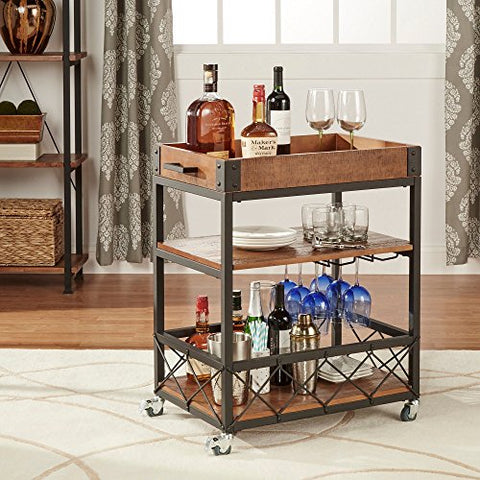 Modern Style Rustic Mobile 3-Tier Kitchen Bar Serving Rolling Wine Cart with Removable Tray Top and Bottom Shelf | Black Metal Frame, Wooden Shelves - (Brown)