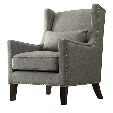 Contemporary Gray Linen Upholstered Accent Wingback Chair with Silver Nailhead Detail & Accent Pillow