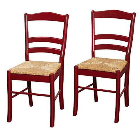 Modern Solid Wood Set of 2 Ladder Back Dining Side Chairs with Woven Rush Seats in Red Finish