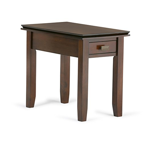 Contemporary Pine Wood Narrow End Table with 1 Drawer
