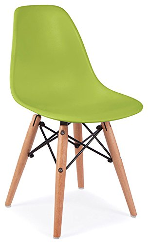 Mid Century Modern CHILDREN KIDS Green DSW Chair with Wood Dowel Base Inpired by Eames design - HIGH QUALITY Matte Finish