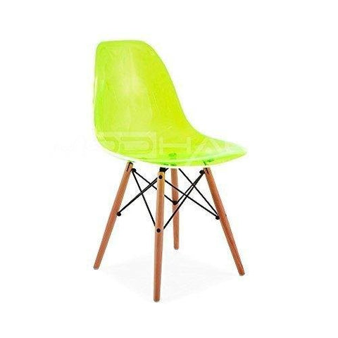Mid Century Modern Eames Style DSW Acrylic Ghost Transparent Side Accent Chair with Dowel Wood Base