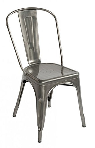 ModHaus Gunmetal Xavier Pauchard Tolix A Style Chair in Powder Coat Finish Galvanized Steel Metal Stackable