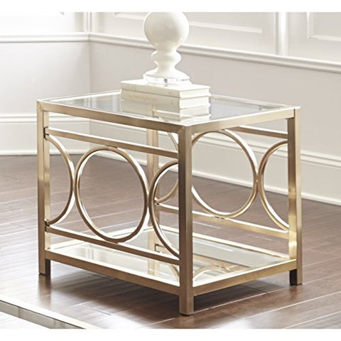 Contemporary Glass Top Accent Side End Table with Gold Chrome Geometric Base & Mirrored Shelf