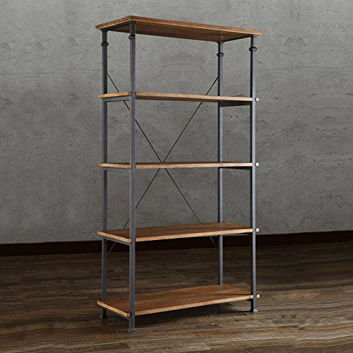 Industrial Rustic Wood and Metal 5 Tier Bookcase