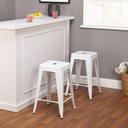 Set of 2 White Tolix Style Metal Counter Stools in Glossy Powder Coated Finish