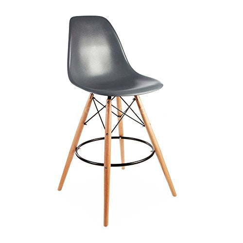 ModHaus Mid Century Modern Eames DSW Style Gray Counter Stool with Dowel Wood Base HIGH QUALITY Satin Finish