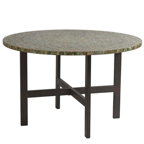 Hand Painted Glass Tiles 42 inch Round Dining Table with Metal Base
