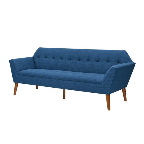Modern Mid Century Retro Button Tufted Blue Upholstered Sofa with Wood Legs