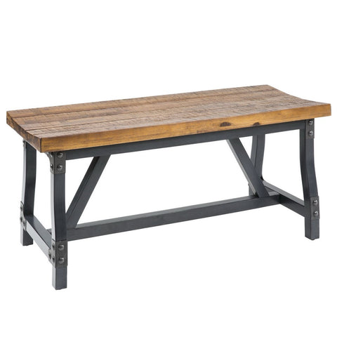 Industrial Rustic Acacia Wood 44 inch Accent Dining Bench