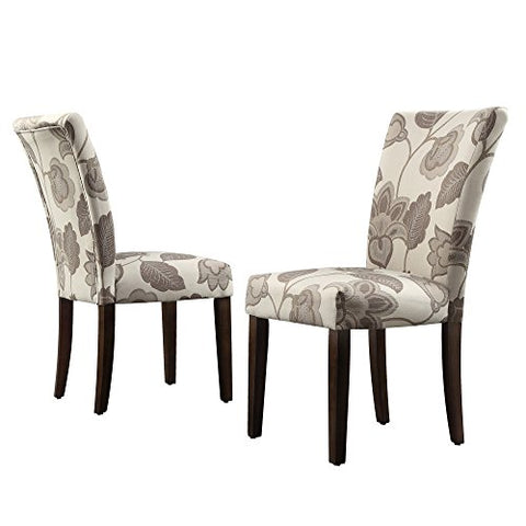 Modern Gray Floral Poppy Pattern Fabric Parsons Style Dining Side Chairs | Wood Legs - Set of 2