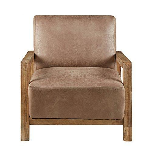 Mid Century Modern Rustic Style Taupe Brown Faux Leather Upholstered Accent Danish Arm Lounge Chair