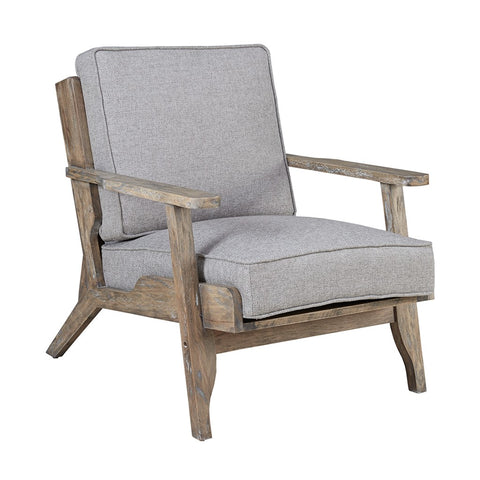Modern Driftwood Rustic Gray Fabric Upholstered and Wood Accent Lounge Chair