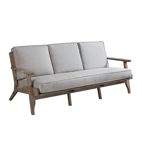 Modern Driftwood Rustic Gray Fabric Upholstered and Wood Sofa