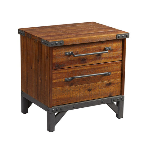 Industrial Rustic Wood and Metal 2 Drawer Side Table Nightstand