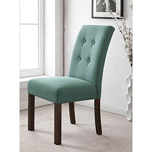 Modern Button Tufted Aqua Parsons Dining Chairs - Set of 2