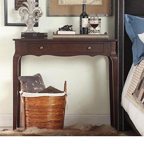 Cottage Style Wood Narrow End Sofa Console Accent Table with Storage Drawer - (Espresso)