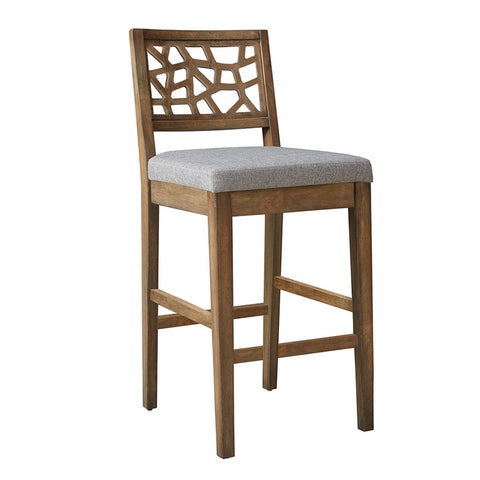 Contemporary Medium Brown Wood Barstool with Gray Upholstered Cushion Seat